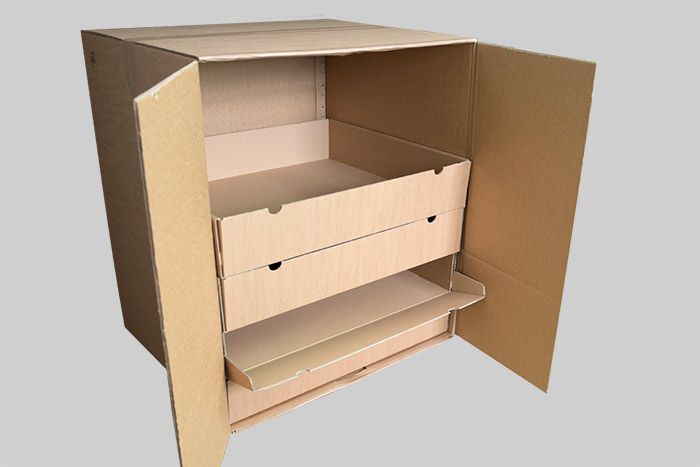 Cardboard cupboard with folding boxes